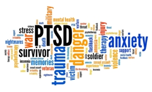 Colorful PTSD graphic with related symptoms. You're more than your trauma and PTSD, thats why a DBT therapist can help you. If you're struggling with trauma, PTSD, suicidal thoughts, or are struggling with self-harm, we can help. Learn about DBT PE and what is dialectical behavioral therapy for help!